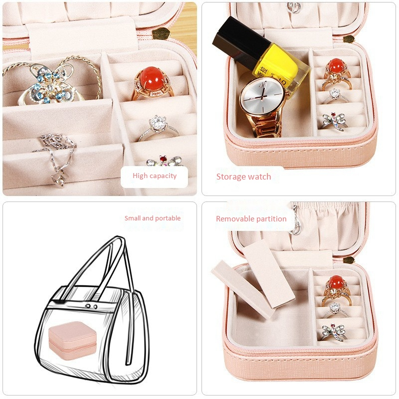 Portable-Jewelry-Case-Packing-Jewelry-Box-Makeup-Organizer-Cosmetic-Box-J8X6 thumbnail 18