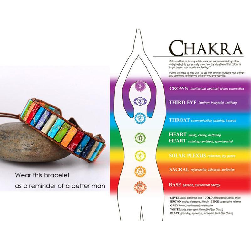 Pulsera de Chakra Joyería Hecha A Mano Multicolor Tubo de Piedra Natural Ab L6C5