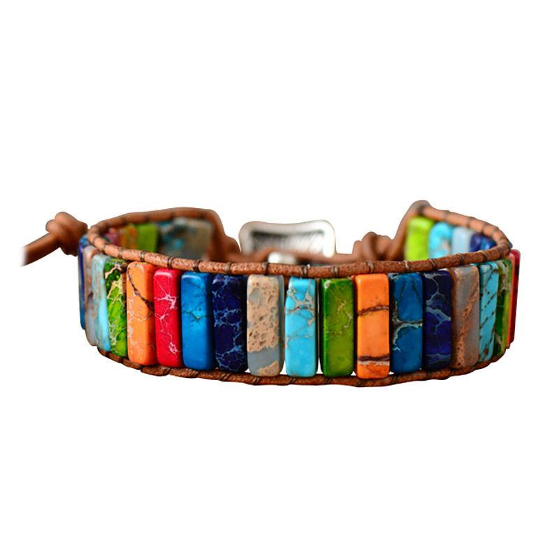 Chakra Armband Schmuck Handgemacht Multi Farbe Naturstein Rohr Perlen Leder Z4X9