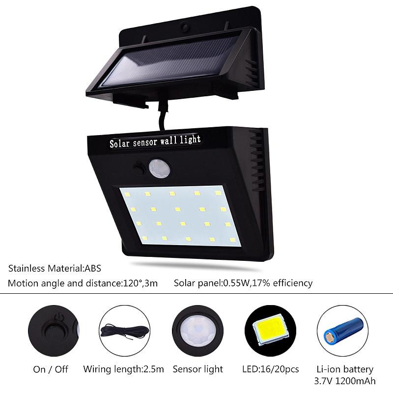 Lampe-Solaires-Capteur-De-Mouvement-Exterieur-20-Leds-Pir-Lampe-Separable-Ac-2C7 miniature 7