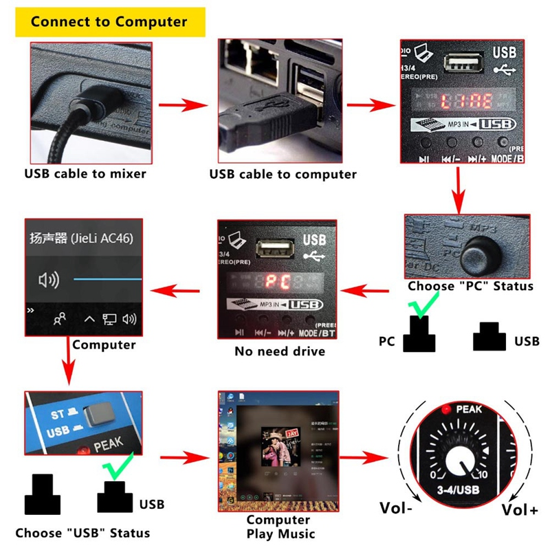 Eu-Stecker A4 Stimme Mischpult Bluetooth Usb Aufnahme Computer Wiedergabe 4 S8B6