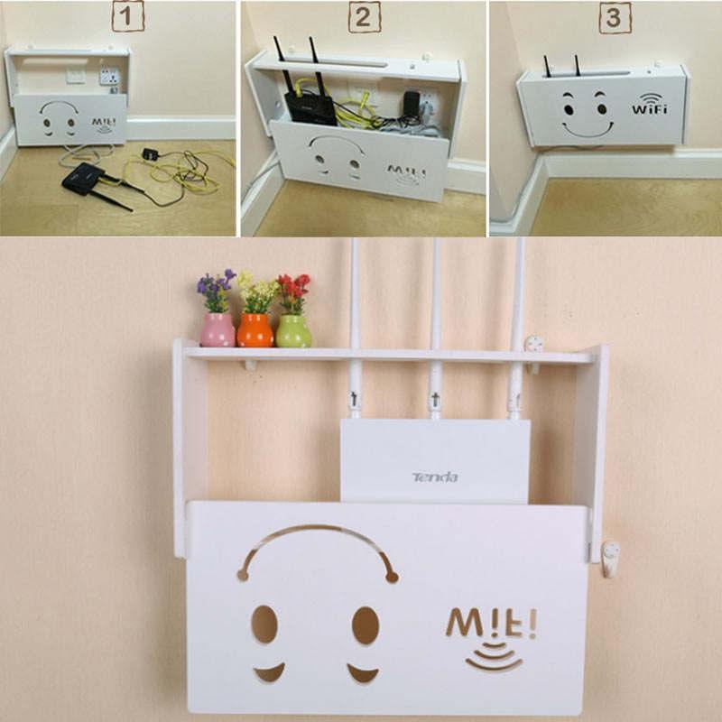 Drahtlos-Wifi-Router-Aufbewahrungs-Box-Holz-Kunststoff-Regal-Wand-Behaenge-H-A1A7 Indexbild 8