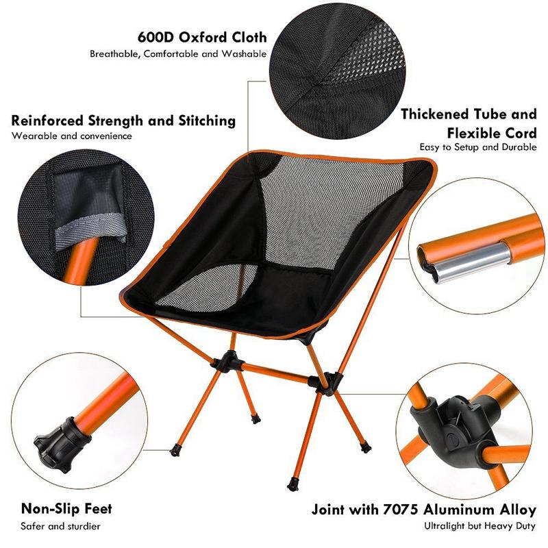 1X-Silla-Plegable-Ultraligera-Con-Bolsa-De-Transporte-Sillas-De-Camping-Bar-O7K9 miniatura 4