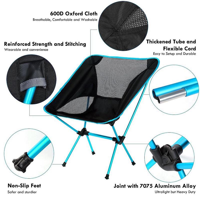 1X-Silla-Plegable-Ultraligera-Con-Bolsa-De-Transporte-Sillas-De-Camping-Bar-O7K9 miniatura 12