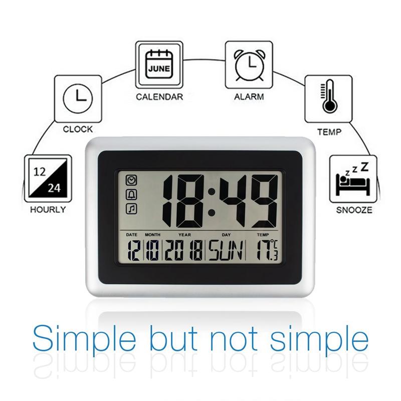 Calendario Digitale Per Anziani.Large Display Orologio Da Parete Digitale Silenzioso Tavolo