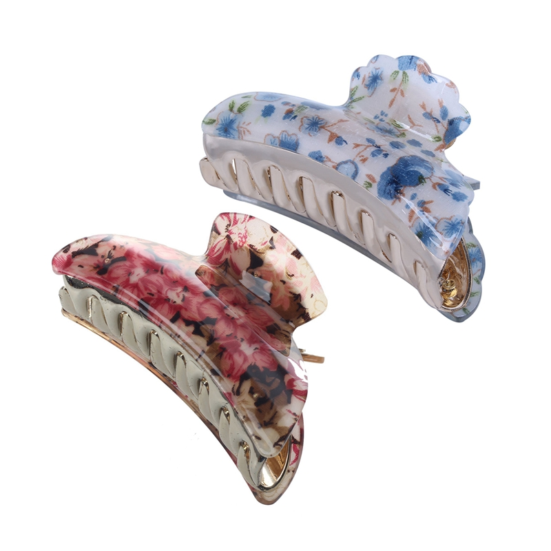 Woman Dark Blue Floral Pattern Plastic Hair Claw Clip Clamp 6 Colors Gift Random