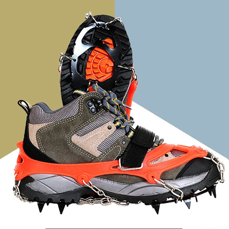 Crampons-12-Teeth-Outdoor-Mountaineering-Hiking-Antislip-Ice-Snow-Shoe-Spik-G3O6 thumbnail 4
