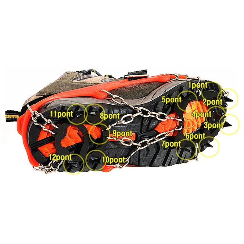 Crampons-12-Teeth-Outdoor-Mountaineering-Hiking-Antislip-Ice-Snow-Shoe-Spik-G3O6 thumbnail 9