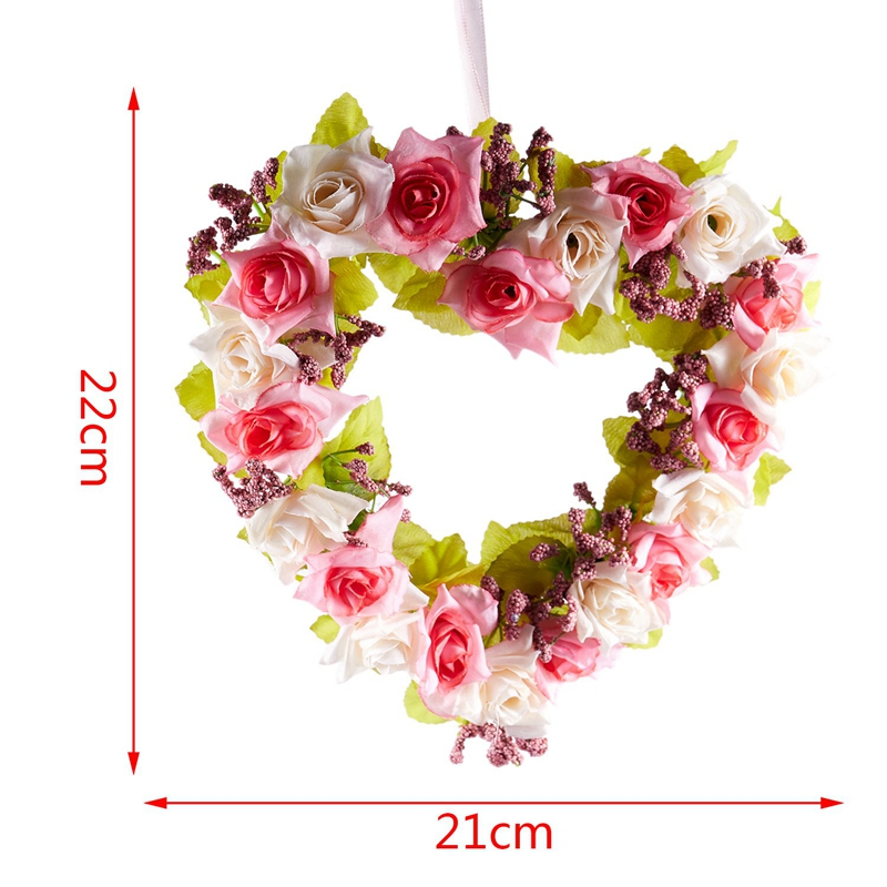 Heart-Shaped-Artificial-Flower-Wreath-Door-Decoration-Hanging-Wreaths-with-W6M2 thumbnail 3