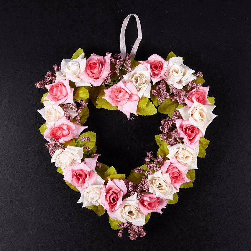 Heart-Shaped-Artificial-Flower-Wreath-Door-Decoration-Hanging-Wreaths-with-W6M2 thumbnail 4