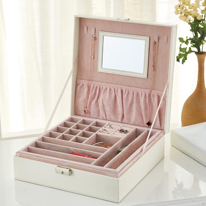 Boite-A-Bijoux-Carree-En-Cuir-Avec-Miroir-Coffrets-A-Bijoux-Boite-De-Rangem-C3R9 miniature 11