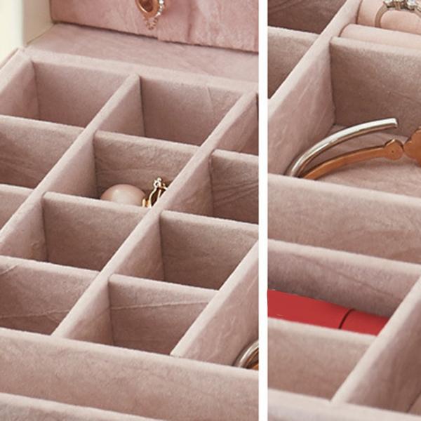 Boite-A-Bijoux-Carree-En-Cuir-Avec-Miroir-Coffrets-A-Bijoux-Boite-De-Rangem-C3R9 miniature 13