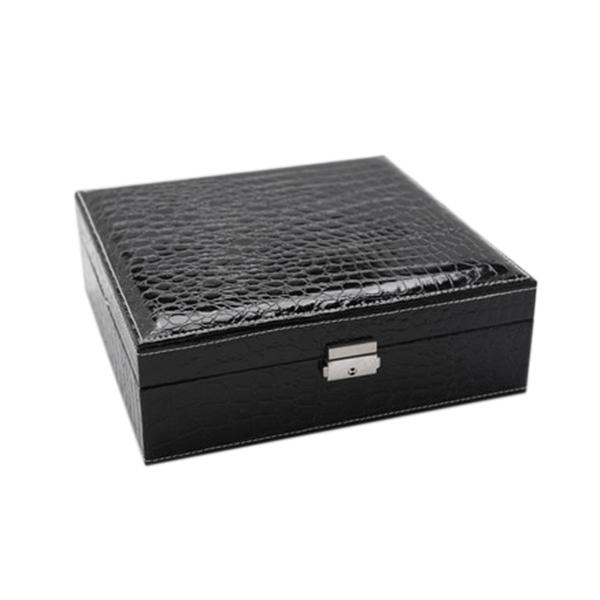 Boite-A-Bijoux-Carree-En-Cuir-Avec-Miroir-Coffrets-A-Bijoux-Boite-De-Rangem-C3R9 miniature 3