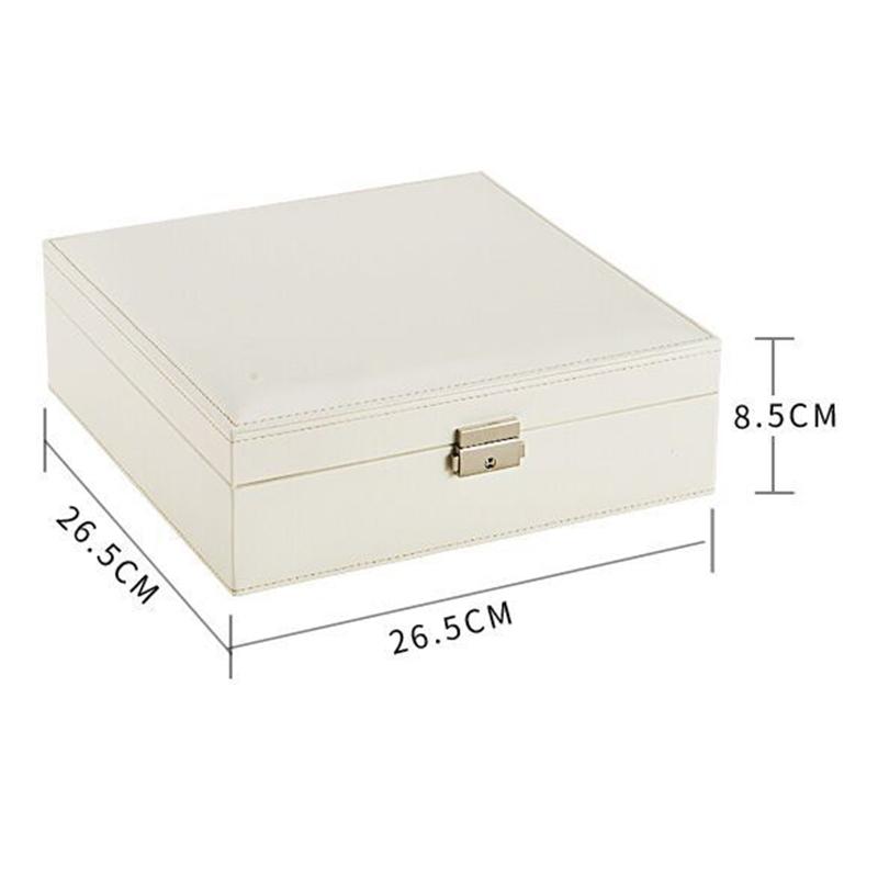 Boite-A-Bijoux-Carree-En-Cuir-Avec-Miroir-Coffrets-A-Bijoux-Boite-De-Rangem-C3R9 miniature 4