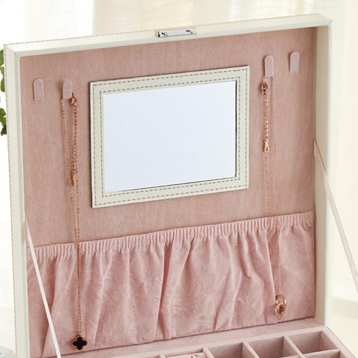 Boite-A-Bijoux-Carree-En-Cuir-Avec-Miroir-Coffrets-A-Bijoux-Boite-De-Rangem-C3R9 miniature 6