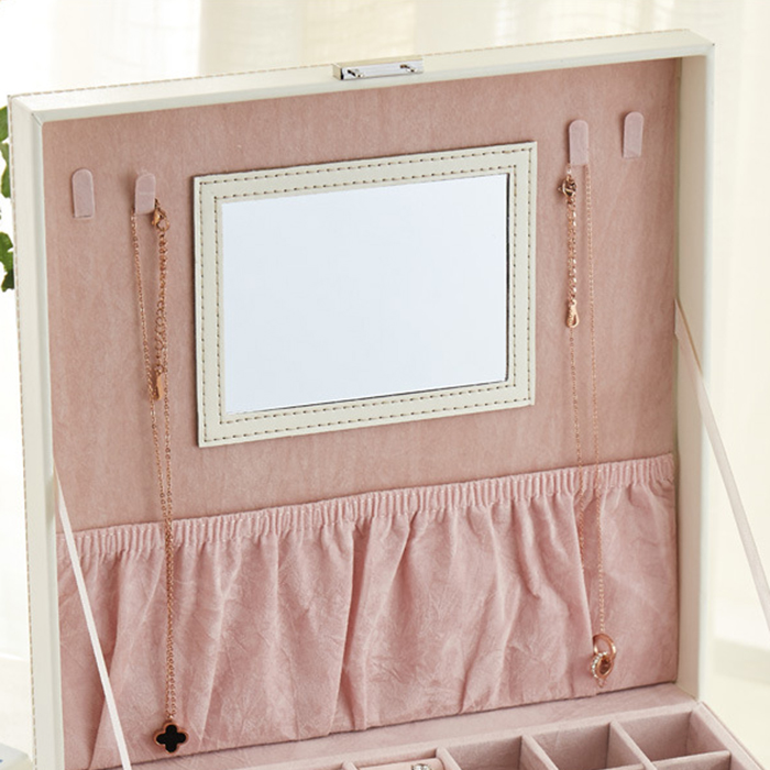 Boite-A-Bijoux-Carree-En-Cuir-Avec-Miroir-Coffrets-A-Bijoux-Boite-De-Rangem-C3R9 miniature 29