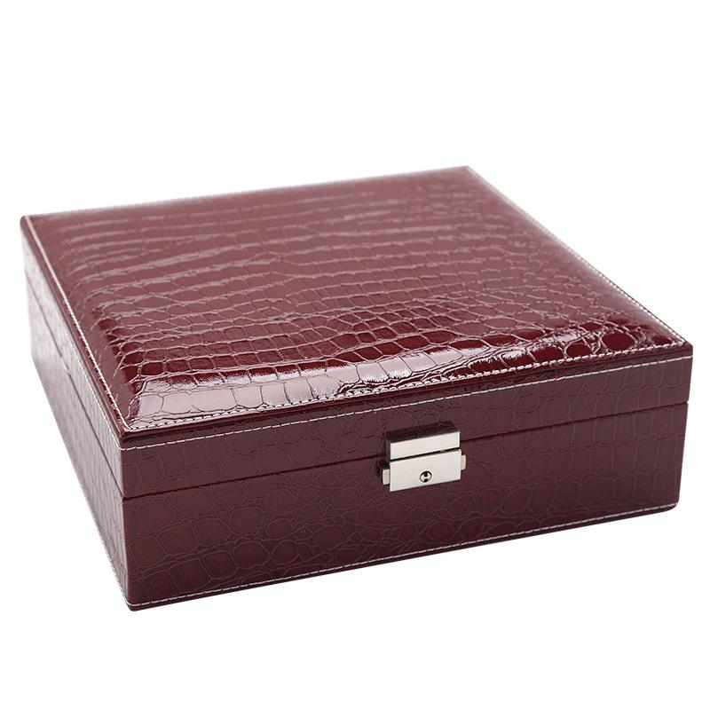 Boite-A-Bijoux-Carree-En-Cuir-Avec-Miroir-Coffrets-A-Bijoux-Boite-De-Rangem-C3R9 miniature 34