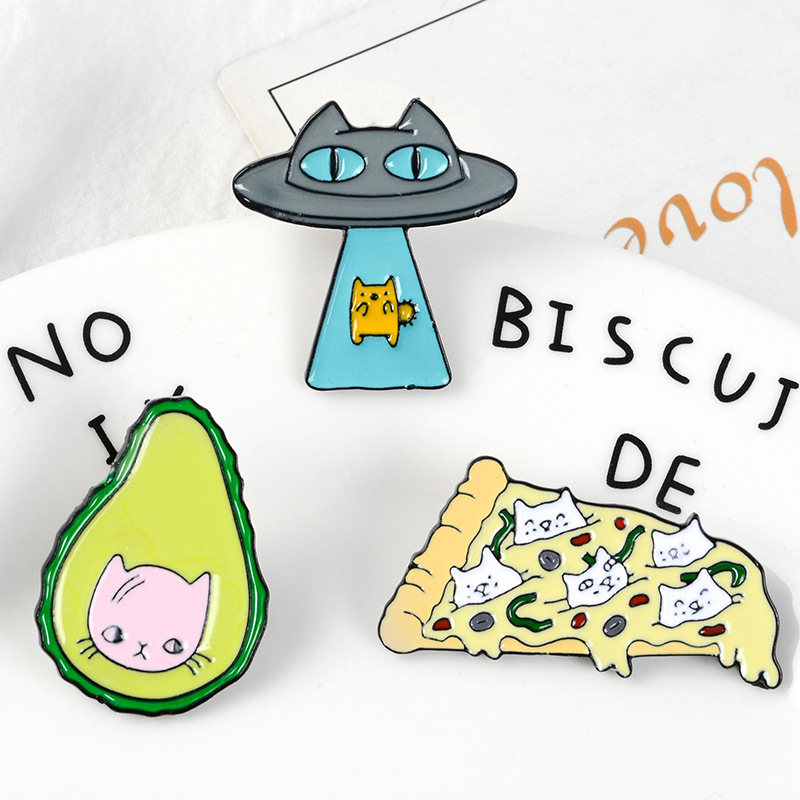 Funny-Kawaii-Cat-Enamel-Pin-Ufo-Avocado-Badge-Brooch-Pizza-Food-Fruit-Kitty-5T5 thumbnail 3