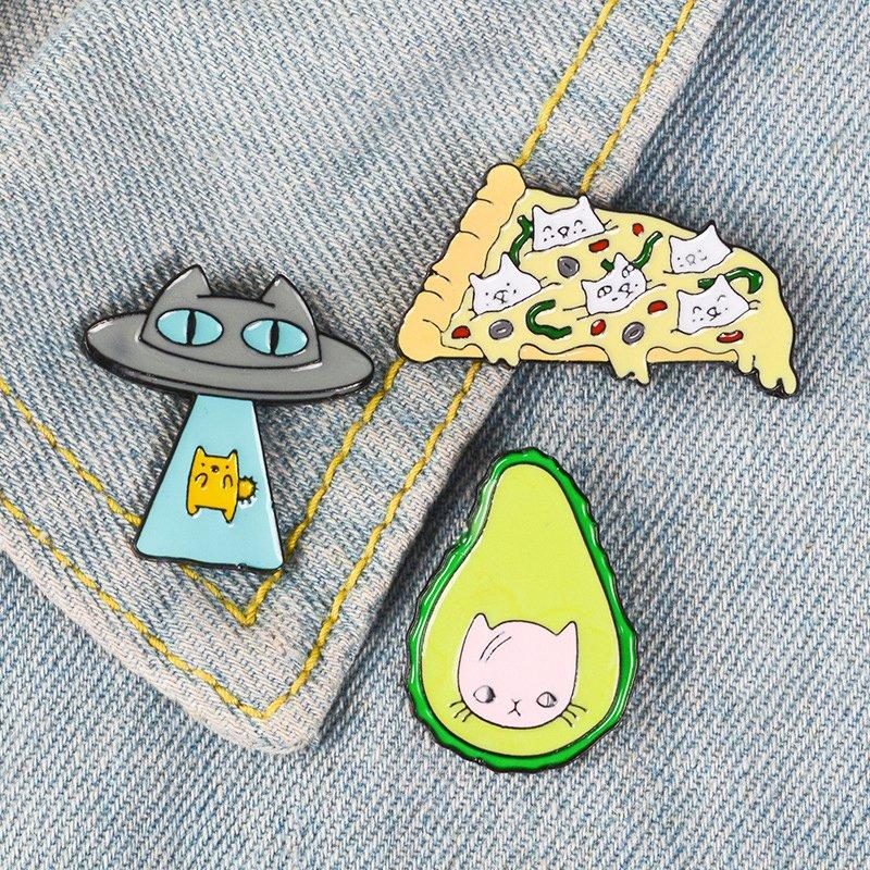 Funny-Kawaii-Cat-Enamel-Pin-Ufo-Avocado-Badge-Brooch-Pizza-Food-Fruit-Kitty-5T5 thumbnail 5