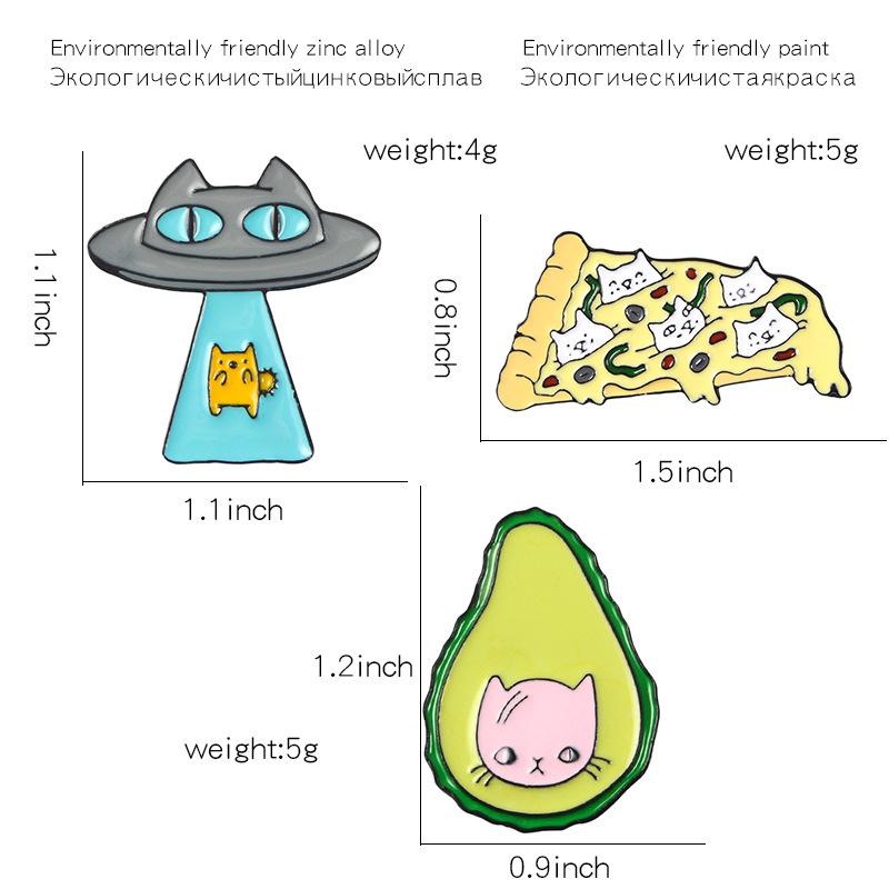 Funny-Kawaii-Cat-Enamel-Pin-Ufo-Avocado-Badge-Brooch-Pizza-Food-Fruit-Kitty-5T5 thumbnail 7