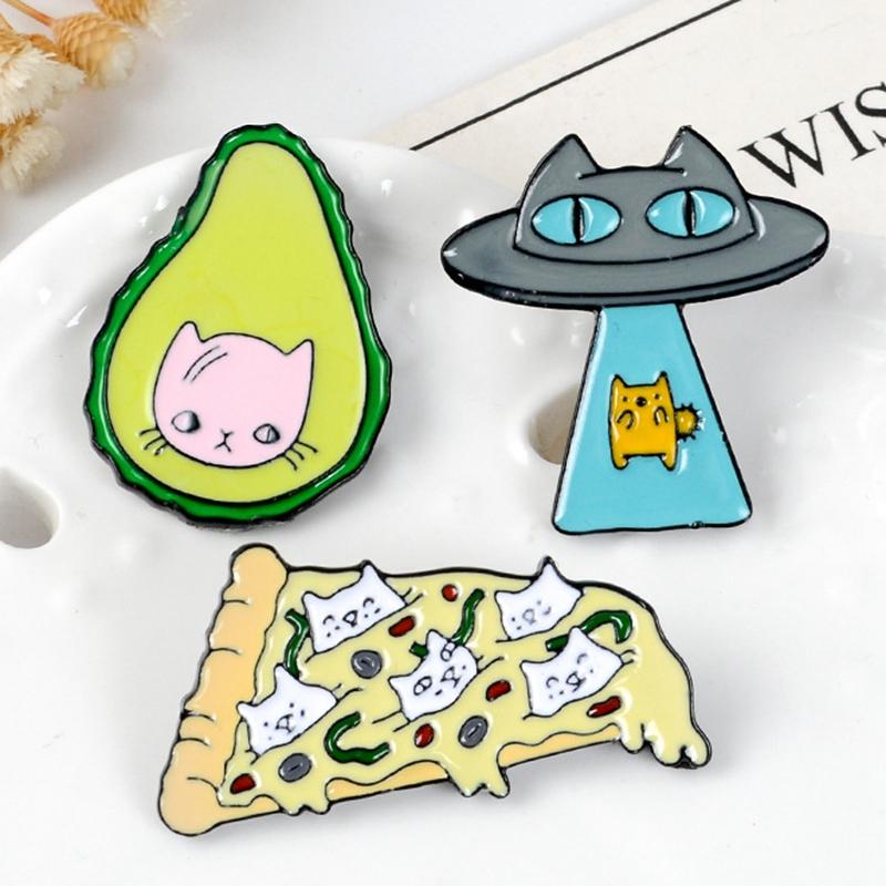 Funny-Kawaii-Cat-Enamel-Pin-Ufo-Avocado-Badge-Brooch-Pizza-Food-Fruit-Kitty-5T5 thumbnail 11