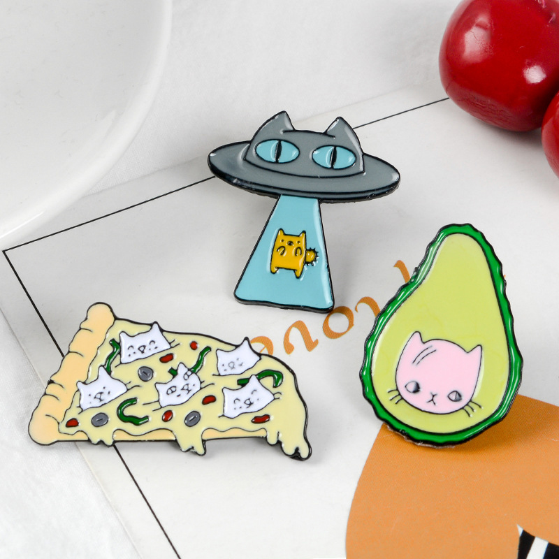 Funny-Kawaii-Cat-Enamel-Pin-Ufo-Avocado-Badge-Brooch-Pizza-Food-Fruit-Kitty-5T5 thumbnail 13