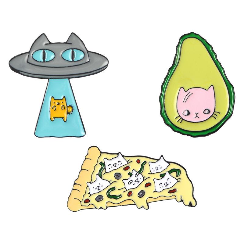 Funny-Kawaii-Cat-Enamel-Pin-Ufo-Avocado-Badge-Brooch-Pizza-Food-Fruit-Kitty-5T5 thumbnail 16
