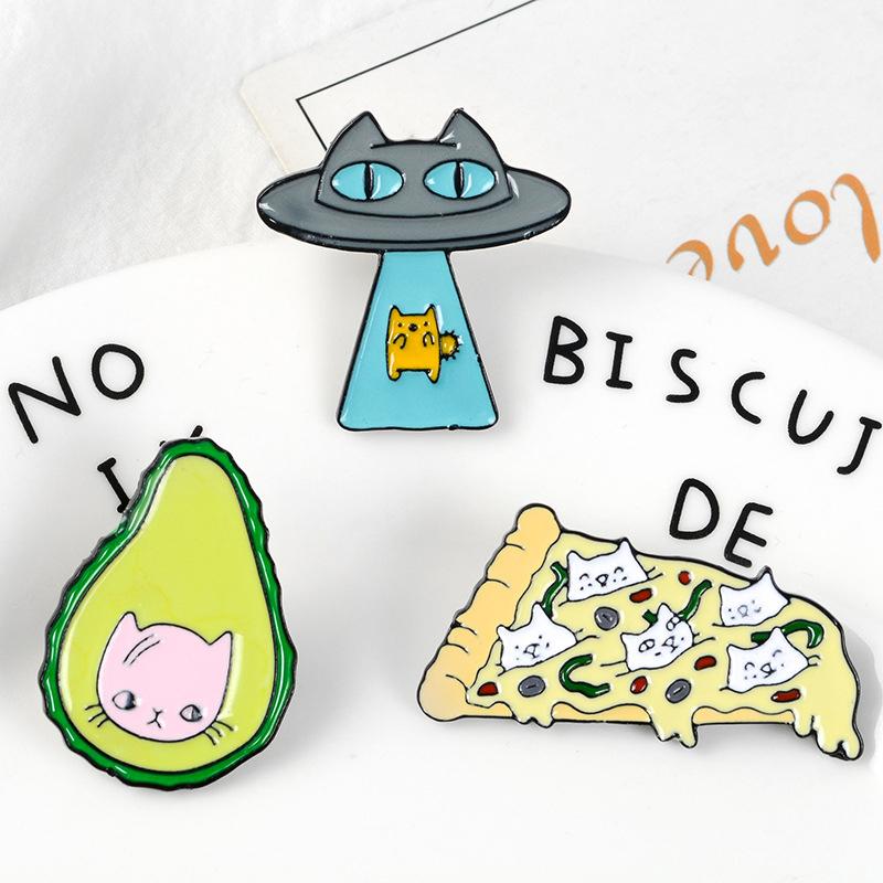 Funny-Kawaii-Cat-Enamel-Pin-Ufo-Avocado-Badge-Brooch-Pizza-Food-Fruit-Kitty-5T5 thumbnail 18