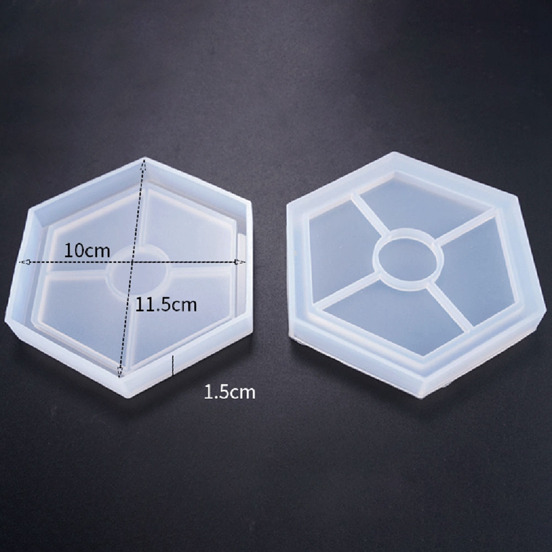 Details about 4 Pack Hexagon Silicone Coaster Molds Silicone Resin Mold,  Clear Epoxy Molds 3Z