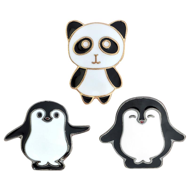 Détails Sur 3xkawaii Dessin Animé Broche Animal Mignon épingles Pingouin émail Broches S8v7
