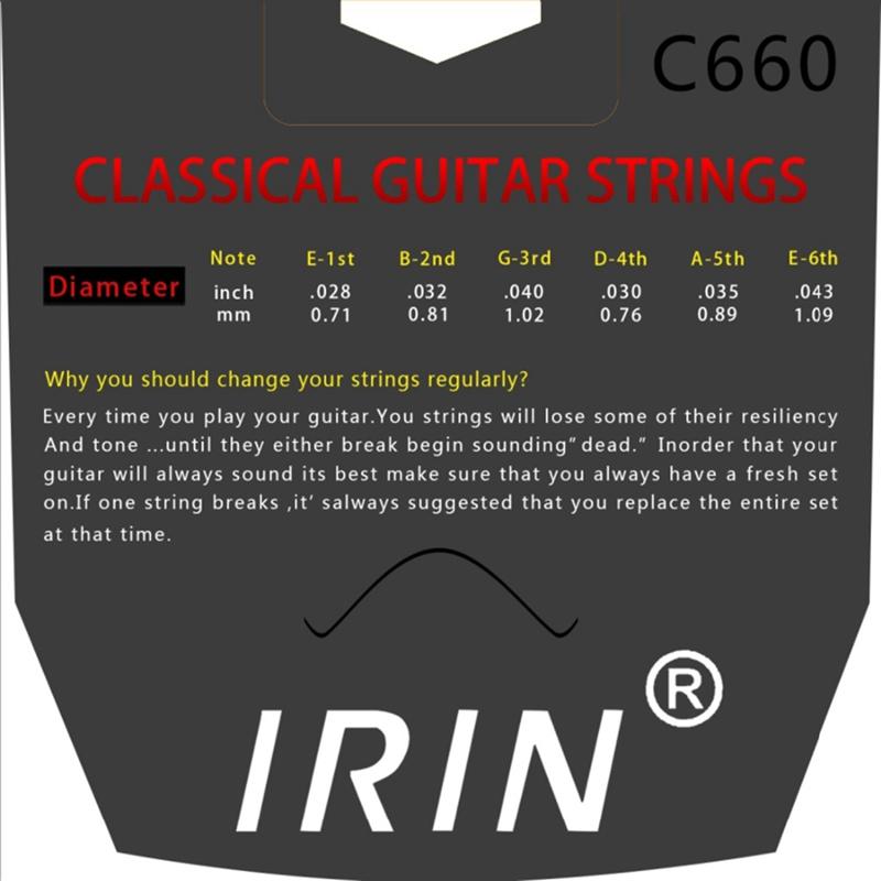 IRIN-6-Pieces-Ensemble-de-Cordes-En-Argent-En-Nylon-Cordes-de-Guitare-Pour-O1A4 miniature 6