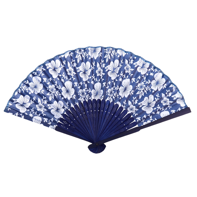 Details about Morning Glory Print Bamboo Fabric Folding Hand Fan dark blue  for Ladies L1I9