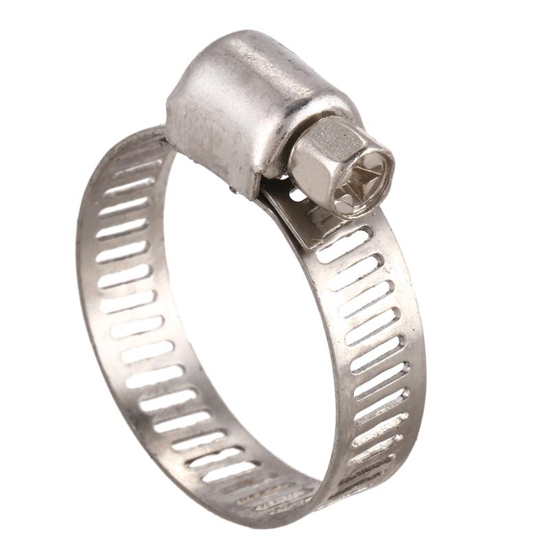 Lot de 5 mini colliers de serrage en acier inoxydable pour tuyau dessence Argent/é