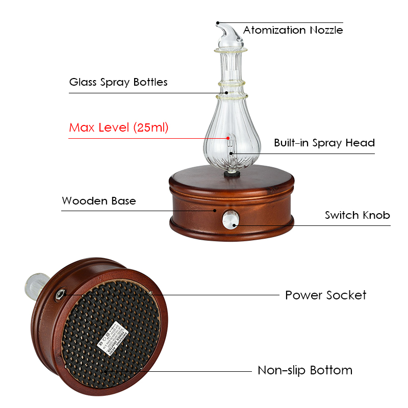 Waterless-Essential-Oil-Diffuser-Wood-And-Glass-Aromatherapy-Diffuser-Aroma-Difu thumbnail 4