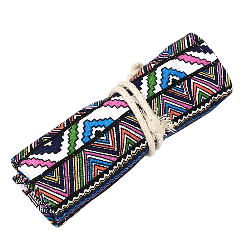 School-Canvas-Roll-Pouch-Pen-Storage-pecncil-box-National-style-B4Q4 miniatuur 7