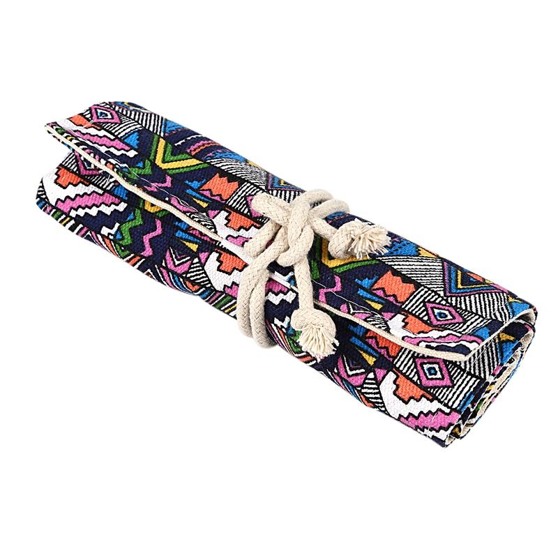 School-Canvas-Roll-Pouch-Pen-Storage-pecncil-box-National-style-B4Q4 miniatuur 9