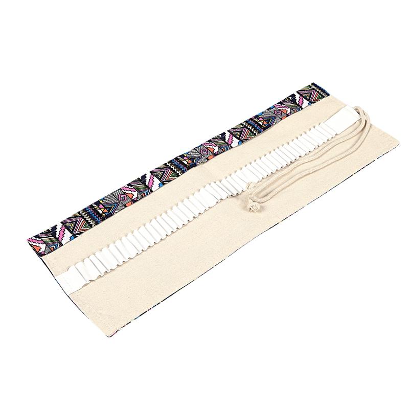 School-Canvas-Roll-Pouch-Pen-Caja-De-Lapices-De-Almacenamiento-De-Agujeros-J5Y2 miniatura 3