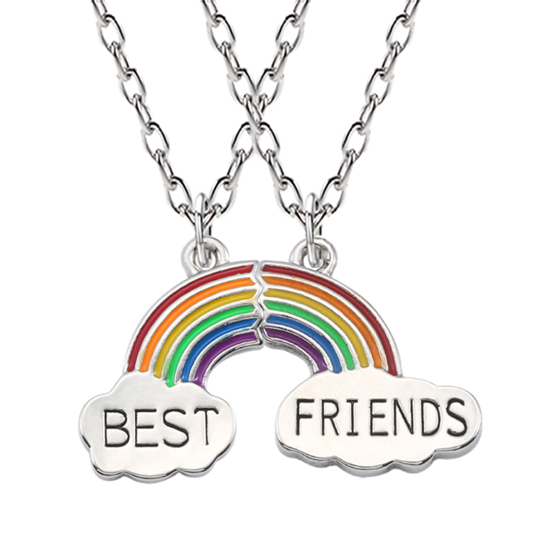 Best Friends Necklace A Pair Enamel Puzzle Rainbow Cloud Pendant