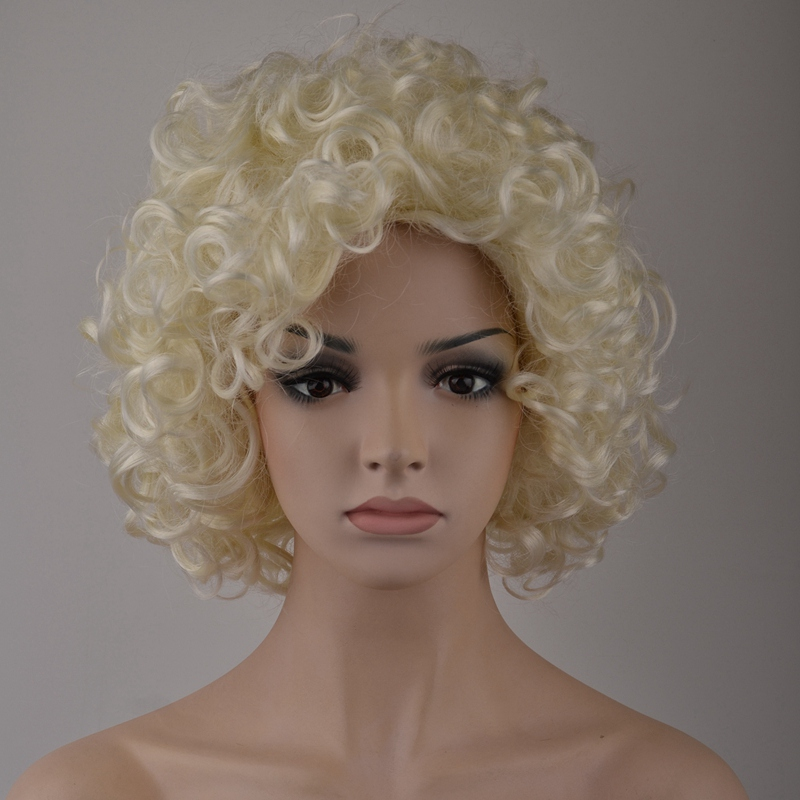 7-8-Inch-Synthetic-Wigs-High-Temperature-Silk-Heat-Short-Short-Roll-Lace-Wig-Afr thumbnail 2
