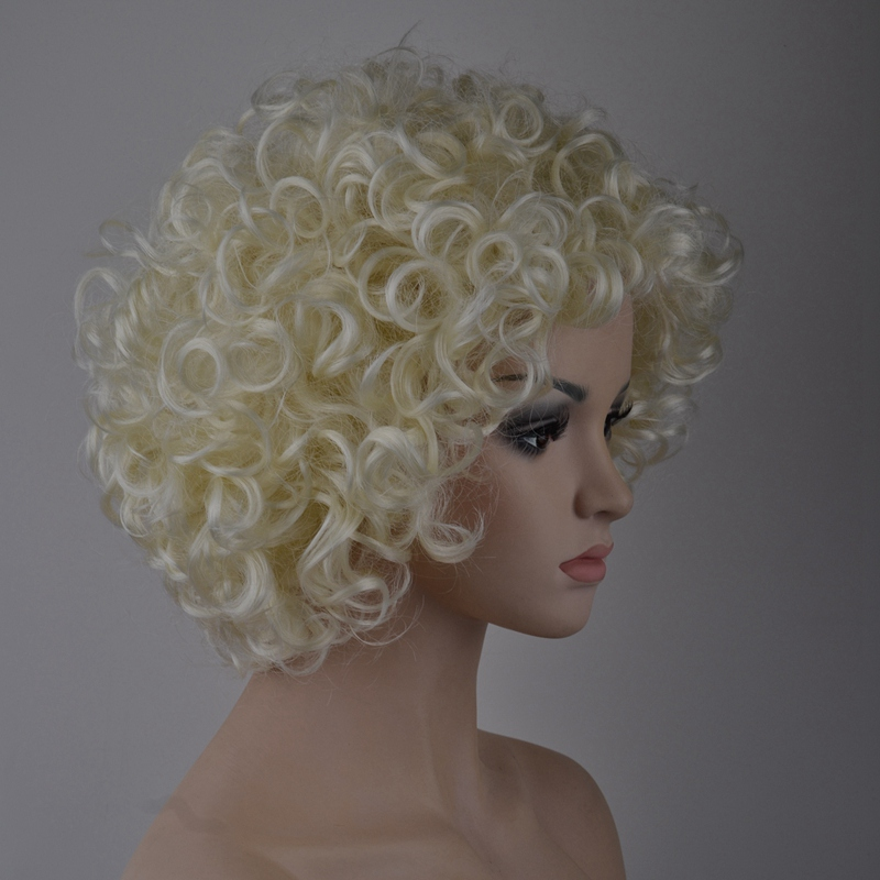 7-8-Inch-Synthetic-Wigs-High-Temperature-Silk-Heat-Short-Short-Roll-Lace-Wig-Afr thumbnail 7