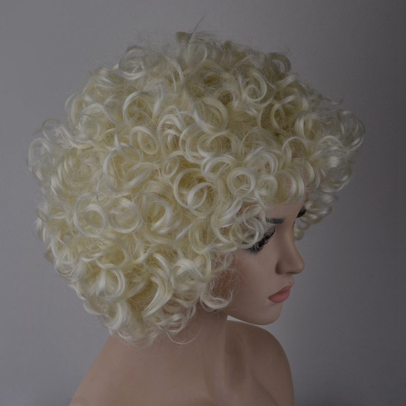 7-8-Inch-Synthetic-Wigs-High-Temperature-Silk-Heat-Short-Short-Roll-Lace-Wig-Afr thumbnail 8
