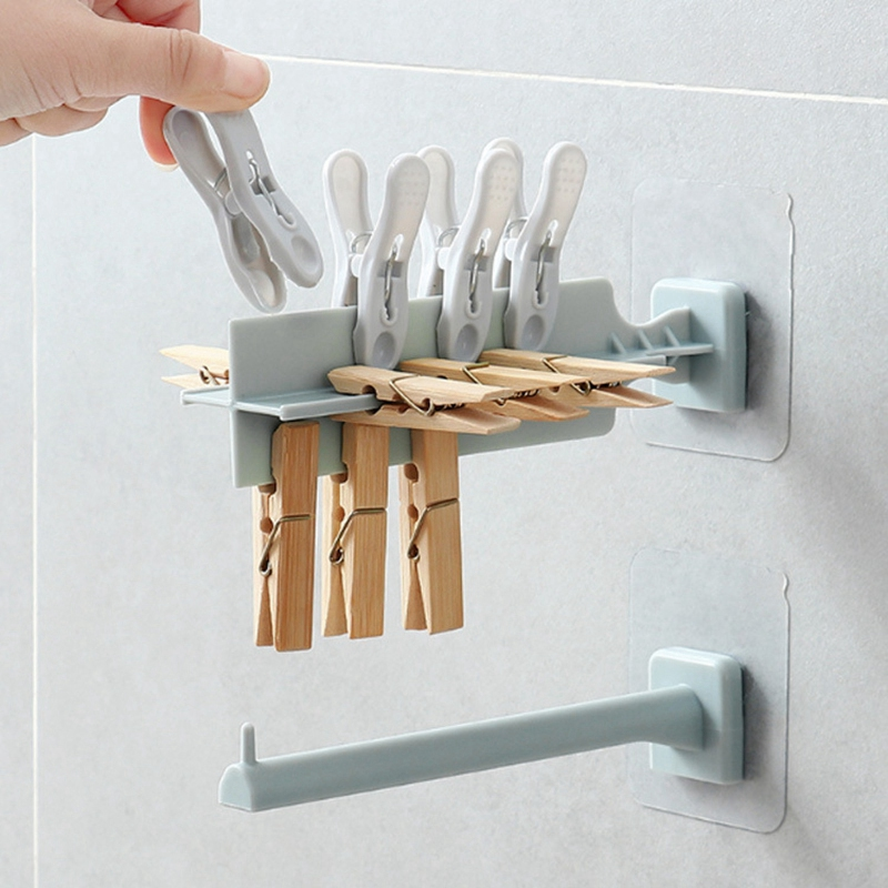Household-Punch-Free-Hook-Clothespin-Finishing-Rack-Hanger-Rack-Storage-Bag-K2C9 thumbnail 22