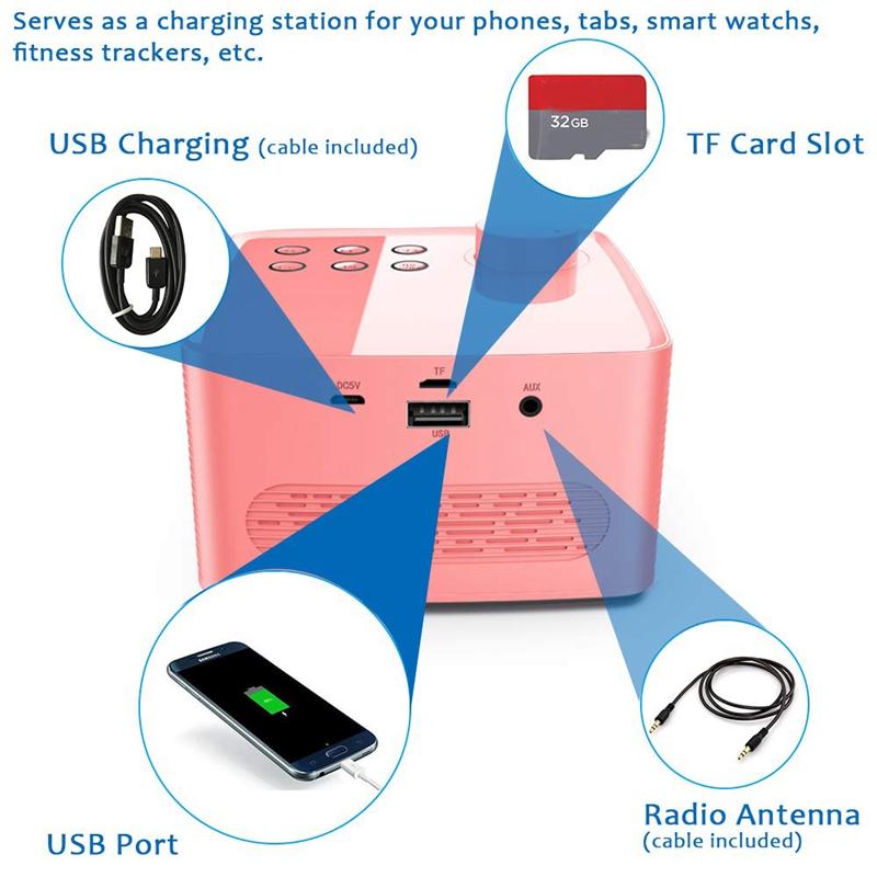 Alarm-Clock-Radio-Wireless-Bluetooth-Speaker-With-Fm-Radio-amp-Cell-Phone-Stan-6B5 thumbnail 10