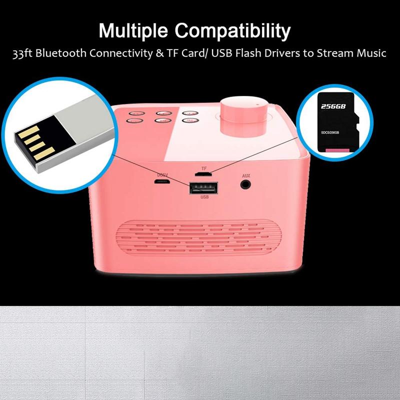 Alarm-Clock-Radio-Wireless-Bluetooth-Speaker-With-Fm-Radio-amp-Cell-Phone-Stan-6B5 thumbnail 11