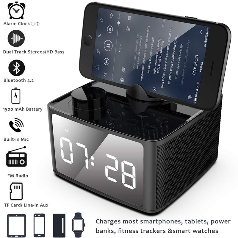 Alarm-Clock-Radio-Wireless-Bluetooth-Speaker-With-Fm-Radio-amp-Cell-Phone-Stan-6B5 thumbnail 13
