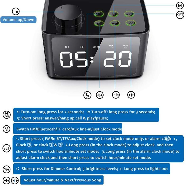 Alarm-Clock-Radio-Wireless-Bluetooth-Speaker-With-Fm-Radio-amp-Cell-Phone-Stan-6B5 thumbnail 19