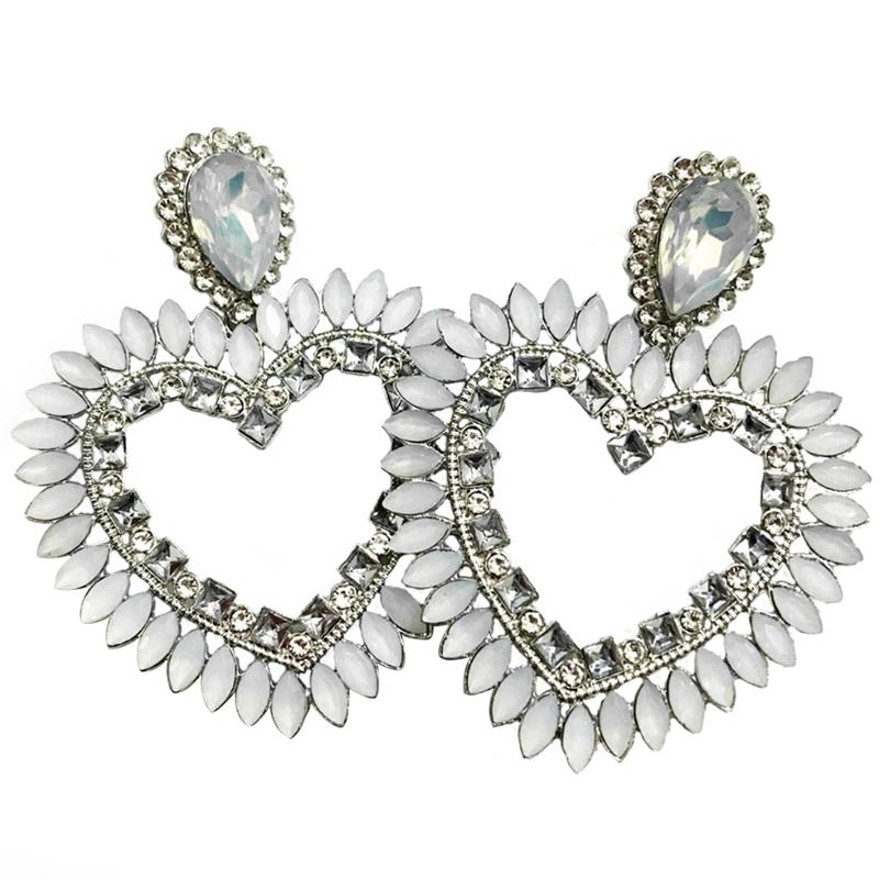 Fine-New-White-Rhinestone-Heart-Charm-Pendant-Earrings-Ladies-Fashion-Jewelr-F2E