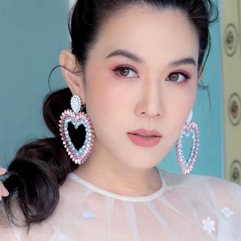 Fine-New-White-Rhinestone-Heart-Charm-Pendant-Earrings-Ladies-Fashion-Jewelr-F2E thumbnail 2
