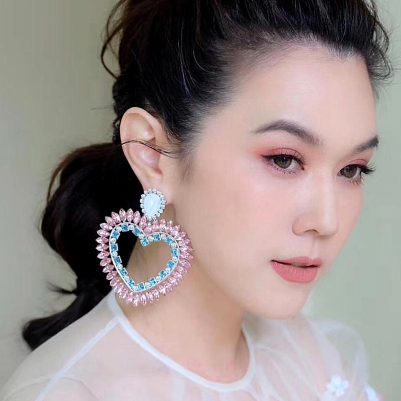 Fine-New-White-Rhinestone-Heart-Charm-Pendant-Earrings-Ladies-Fashion-Jewelr-F2E thumbnail 3