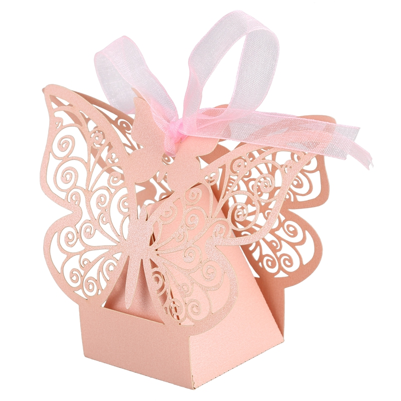 50pcs-Butterfly-Wedding-Favour-Box-Birthday-Party-Gifts-Candy-Boxes-Pink-J4I6 thumbnail 3